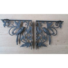 Pair of 1 BIRD WOODLAND ANTIQUE STYLE CAST IRON WALL SHELF BRACKETS BRACKET - AI