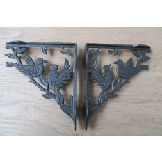 Pair of 2 BIRD WOODLAND ANTIQUE STYLE CAST IRON WALL SHELF BRACKETS BRACKET - AI