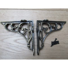 "Pair Of 5"" Victorian Scroll Shelf Brackets Antique Brass"