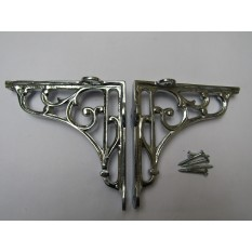 "Pair Of 7"" Victorian Scroll Shelf Brackets Polished Chrome"