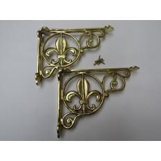 Pair Of Fleur De Lys Shelf Brackets Brass