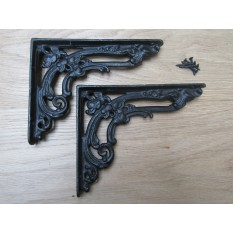 "Pair Of 8"" Floral Shelf Brackets Black Wax"