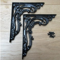 "Pair Of 12"" Floral Shelf Brackets Black Wax"