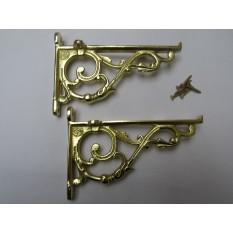 Pair Of Small Lipped Shelf Brackets Polished Brass