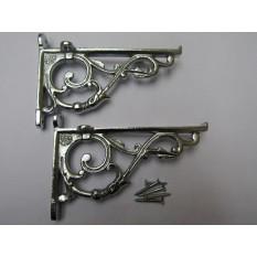 Pair Of Small Lipped Shelf Brackets Polished Chrome