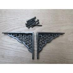 Pair Of Small Honeycomb Shelf Brackets Antique iron