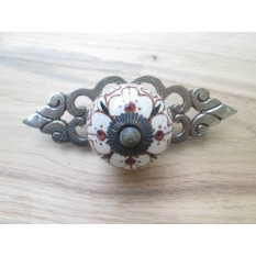 Patterned Cabinet Knob with Antique Brass Back Plate