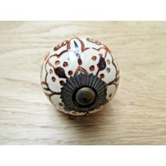 Patterned Round Ceramic Pumpkin Cabinet Knob