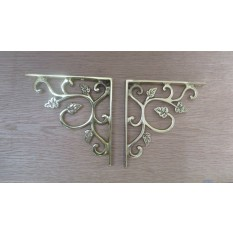 Solid brass ornate decorative vintage design wall mounted shelf support brackets- Polished brass leaf pattern