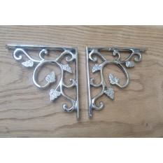 Solid brass ornate decorative vintage design wall mounted shelf support brackets- Polished chrome