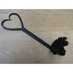 "Handforged Floral candle Holder 14"" Heart Flower plate"