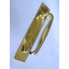 """Plain Handle on Plate Cranked polished brass 12"""""""