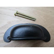 Plain Lipped Rear Fix Cabinet Handle Black Antique