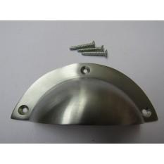 Plain Large Victorian Cup Pull Handle Satin Chrome