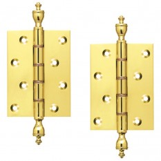 "4"" Pair Of Brass Finial Hinges"