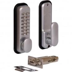 Push Button Digital Lock with Holdback Satin Chrome