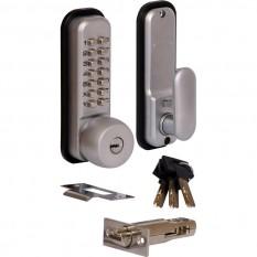Push Button Digital Lock with Override & Holdback Satin Chrome