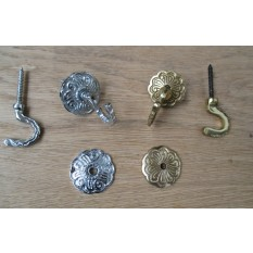Solid brass 2 X CURTAIN TIE BACK HOOKS -ROSETTE & PLATE