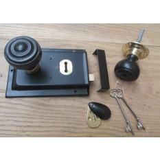 English Rim Door Lock And Knob Handle Set- Flat Rimmed ebony + brass