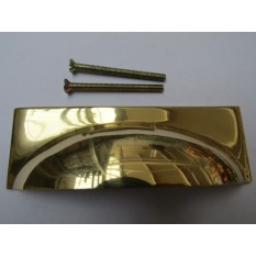 Rear Fix Rectanguar Cup Pull Handle Polished Brass