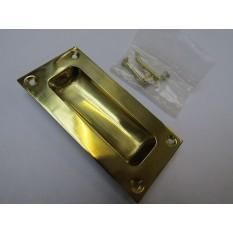 90mm Rectangular Recessed Slide Handle polished brass