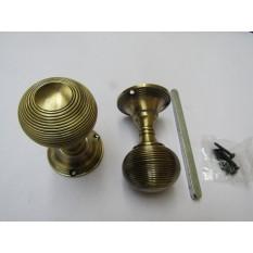 Mortice Door knob Antique Brass Queen Anne Reeded