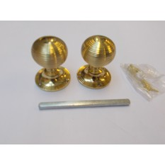 Mortice Door knob Polished Brass Queen Anne Reeded