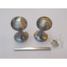 Mortice Door knob Satin Nickel Queen Anne Reeded