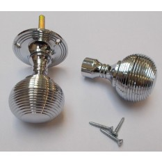 Rim Door knob set Reeded Polished Chrome