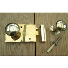 Solid Brass Old Style Door Georgian door RIM  LATCH KNOB SET- RIGHT HANDED LATCH + KNOB PLAIN POLISHED BRASS