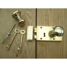 Solid Brass Old Style Door Georgian door RIM LOCK  KNOB SET- LEFT HANDED LOCK+ KNOB PLAIN POLISHED BRASS