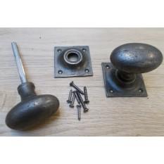 Rim door knob set Oval Square base Antique Iron