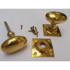 Rim door knob set Oval Square base Polished Brass
