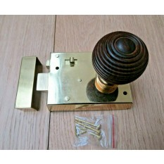 "4"" Rim Latch Brass & Beehive Teak + Brass Set"