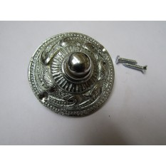 Rococo Round Bell Push Polished Chrome