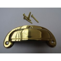 Round Lipped Cup Pull Handle Polished Brass