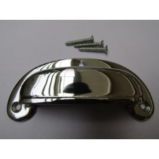 Round Lipped Cabinet Cup Pull Handle Polished Chrome
