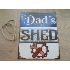 Rustic Steel Dads Shed Plaque