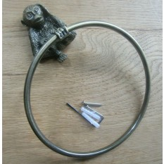 Cheeky Monkey Towel Ring Antique Brass