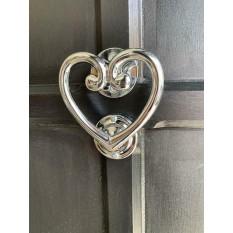 Cast Iron Heart Door Knocker Polished Chrome