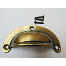 Lugged Pressed Steel Cup Pull Burnished Antique Brass
