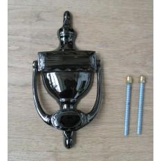 URN Door Knocker Polished Black Nickel