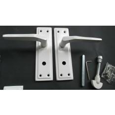 Pair of White Sprung Lever Bathroom Handle