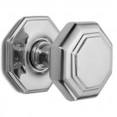 Carlton Flat Octagonal Centre Door Knob Polished Chrome