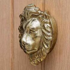 Cast Iron Metallic Lion Head Door Knocker Gold