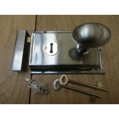 """6"""" Rim Lock Satin Chrome & Oval Rim Satin Chrome Set"""