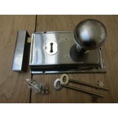 "6"" Rim Lock Satin Chrome & Victorian Rim Satin Chrome Set"