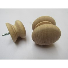 Screw in Beech Cabinet Knob 45mm