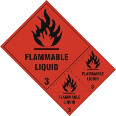 Self Adhesive Vinyl Safety Sign Flammable Liquid Class 3