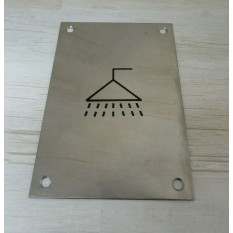 """6"""" Stainless Steel Shower Door Sign"""